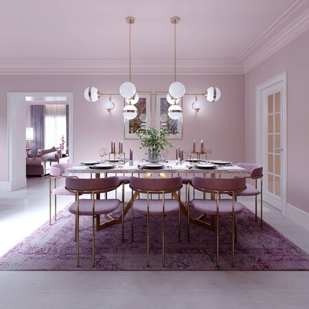 Lilac color dining room in trendy art deco style with modern furniture, served table and chairs. 3D rendering.