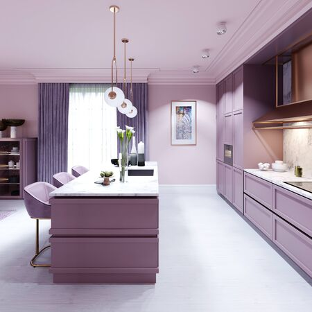 Fashionable kitchen in a trend style lilac color furniture and modern design. 3D rendering. Stock fotó - 150296820