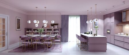 Fashionable kitchen interior with dining room in lilac color. 3D rendering.