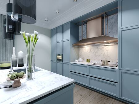 Modern trendy kitchen with light blue faded coral color furniture. 3D rendering.
