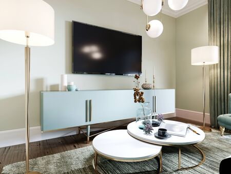 TV on the wall above the console with decor and two floor lamps. Living room interior in art deco style. 3D rendering.