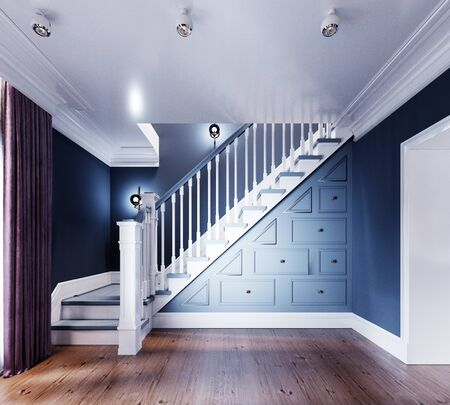 White stairs with railings to the second floor, lockers under the stairs, blue walls. 3D rendering.