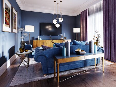 Luxurious living room in art deco style in a fashionable design, blue, brown, burgundy color. 3D rendering.