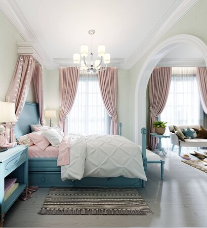 Children's bedroom with a large bed, a large window, bedside tables with books, a canopy above the bed, the interior color is pistachio, blue, pink, faded coral. 3D rendering.
