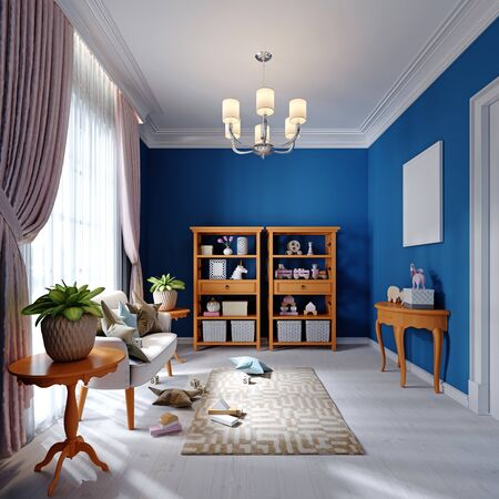 Design of a playroom for a small child, blue, white and orange. Rack with toys and decor and a stylish sofa. 3D rendering.