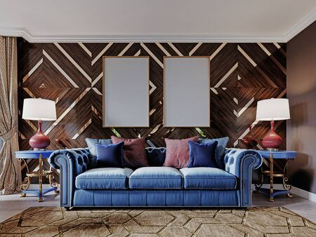Classic designer sofa in blue with soft upholstery, two side tables with lamps. Wooden walls with gold accents. Living room in a classic style. 3D rendering