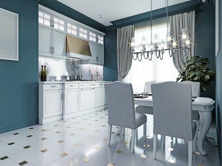 Classic kitchen interior. Luxurious white furniture, blue walls. 3D rendering.