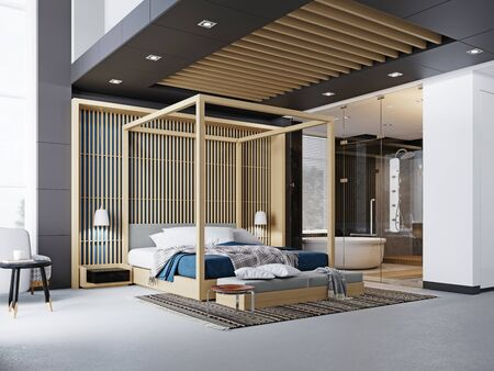 Modern fashionable design of a bedroom, a bed with a canopy. TV unit, two soft chairs, a wooden bed with four-poster. 3D rendering.