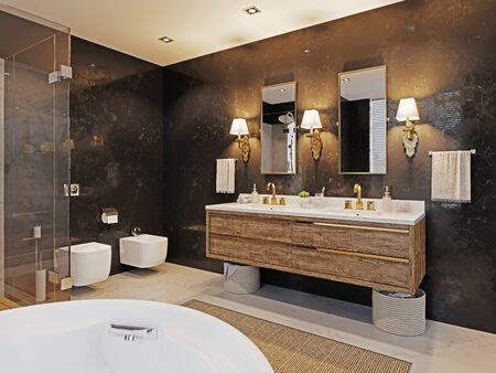 Double wooden washbasin with two mirrors and a sconce on the black marble wall. Fashionable bathroom design. 3D rendering. Archivio Fotografico