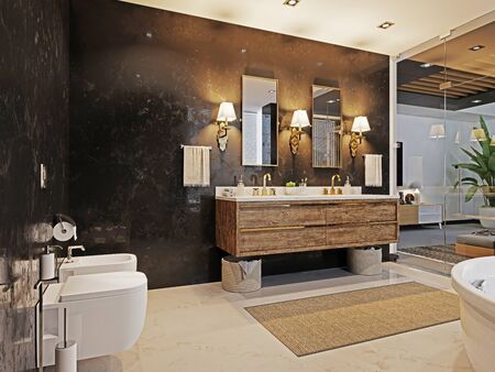 Double wooden washbasin with two mirrors and a sconce on the black marble wall. Fashionable bathroom design. 3D rendering.
