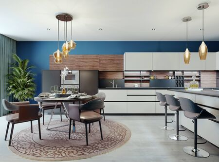 Luxurious multi-colored kitchen with dining tables in a new modern style. Furniture in white, black and brown, Walls of blue. 3D rendering.