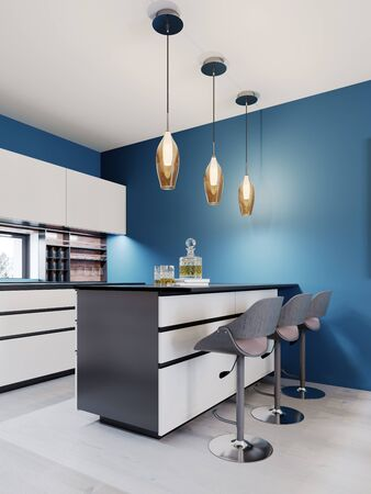 Bar with three chairs in a modern kitchen, a white kitchen island, pendant lights 3D rendering.