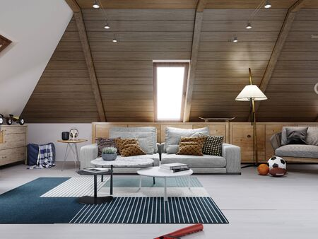 The design of the children's room for the teenager on the attic is in the loft style, the ceiling is hemmed with wood and the walls are white. 3D rendering.