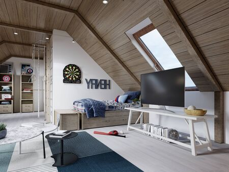 Wooden white designer table with a TV next to the cot, a children's room on the attic. 3D rendering.