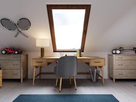 Children's wooden desk in the attic children's room. 3D rendering.