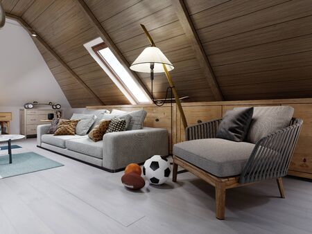 Designer white sofa, armchair and coffee table with interior decor in the attic childrens room. 3D rendering.