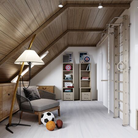 Armchair with floor lamp, bookcase, childrens stairs-wall, childrens room on the attic. 3D rendering. Archivio Fotografico