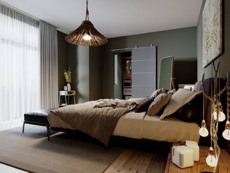 Modern loft style bedroom with a trendy bed and hanging chair. 3D rendering.