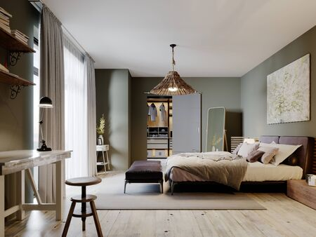 Design a trendy traditional-style bedroom with a hanging chair and ottomans by the bed. 3D rendering.