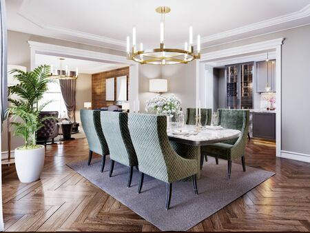 Luxurious trendy dining room interior in art deco style, beige interior with green furniture. Rectangular table with six chairs. 3D rendering.