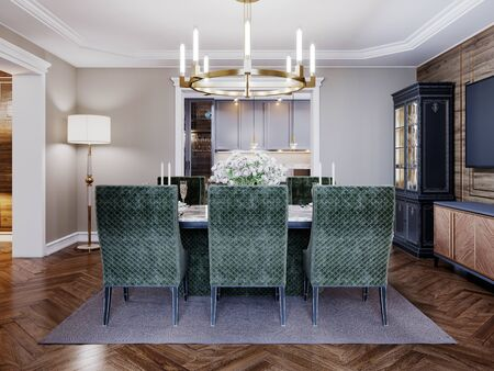 Luxurious trendy dining room interior in art deco style, beige interior with green furniture. Rectangular table with six chairs. 3D rendering. Banco de Imagens - 150502380