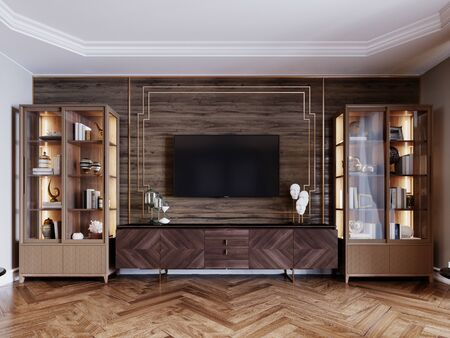 Front view of a TV unit against a wooden wall, sideboards with books and decor. 3D rendering.