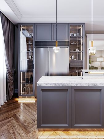 A modern kitchen island made of wooden panels with a chamfer of gray color, with a white marble countertop and two bar stools. Built-in sideboard metal refrigerator, dishes on the shelves. 3D rendering.