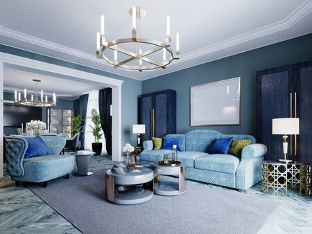 Luxurious fashionable living room in blue and light blue colors classic style. Upholstered blue furniture, armchair, sofa, wardrobe, coffee table. 3D rendering. Stock Photo