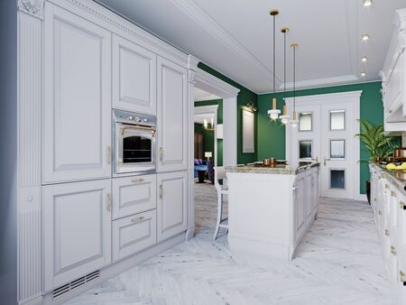 A classic kitchen with white furniture and green walls and a white floor with a ceiling, a kitchen island and a bar counter with three chairs. 3D rendering.