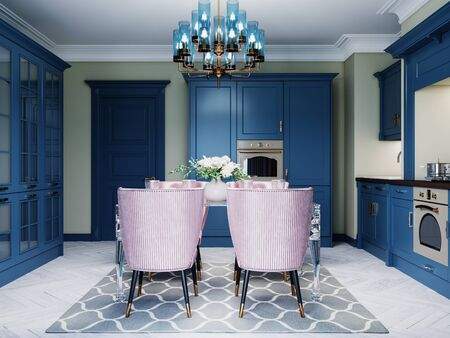 Dining table in the kitchen with a glass table and four soft pink chairs. Kitchen trendy design with blue mele. 3D rendering.