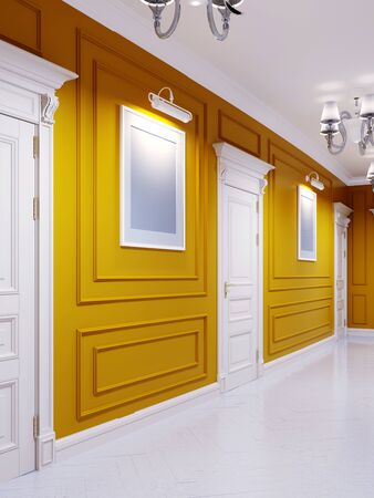 Classic style corridor with orange walls, white doors and wood-paneled walls. The paintings on the walls. 3D rendering.