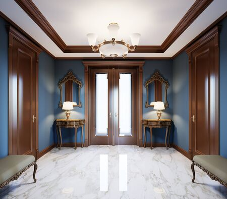 Fashionable, modern hall in a classic style house with blue walls, brown doors and white marble floor. 3D rendering.