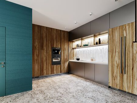 Contemporary kitchen, brushed metal gray and wood with vertical fiber furniture facade, built-in appliances and refrigerator. Floor tiles terrazzo. 3D rendering.