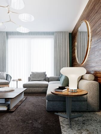 Corner gray sofa against a wooden wall with horizontal stripes and a round mirror with a night table with a lamp in the living room. 3D rendering. Banco de Imagens