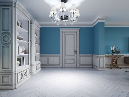 Design of a white-blue hallway with a sofa and two shelves with interior decor. 3D rendering.