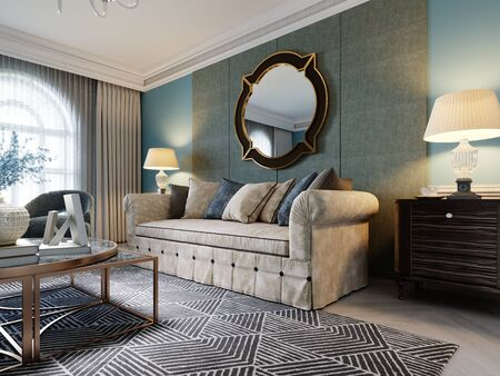 Luxurious beige sofa in a classic style with two wooden bedside tables with lamps and a mirror on a light blue wall background. 3D rendering.