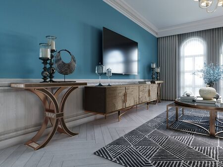 TV unit, TV set in a modern living room in a classic style with blue walls, black TV cabinet, console table with interior decor. 3D rendering. 免版税图像