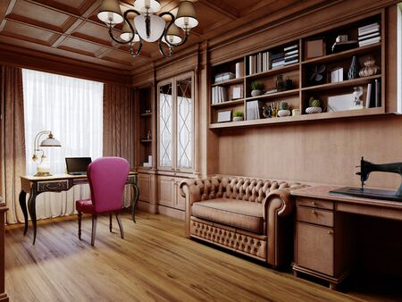 A wooden office cabinet in a classic style with sideboard cabinets with interior decor and a work desk with a soft pink chair. 3D rendering.