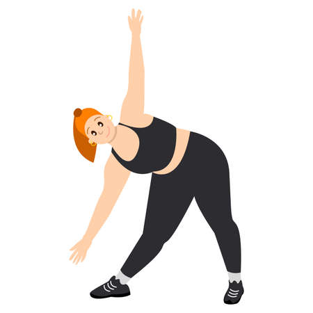 Girl with orange hair. Young woman with pony tail. Isolated on white. Body positive. Healthy lifestyle. Sports and leisure. Doing exercises in black sportswear. Poster, web and interface design