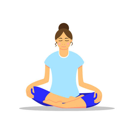Work from home concept. Bare foot young girl doing yoga. Vector illustration. Flat cartoon style. Asian woman sitting on the floor in lotus position. Healthy lifestyle. For posters, interface design