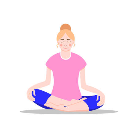 Work from home concept. Bare foot young girl doing yoga. Vector illustration. Flat cartoon style. Blonde woman sitting on the floor in lotus position. Healthy lifestyle. For posters, interface design