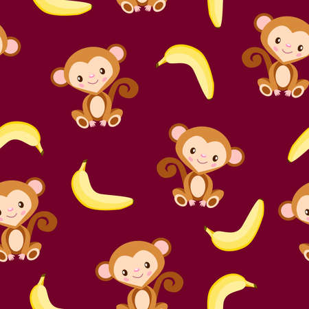 Seamless pattern with monkey and yellow banana. Bordeaux background. Flat cartoon style. Healthy food. Vegan and vegetarian lifestyle. For kids. For postcards, wallpaper, textile and wrapping paper