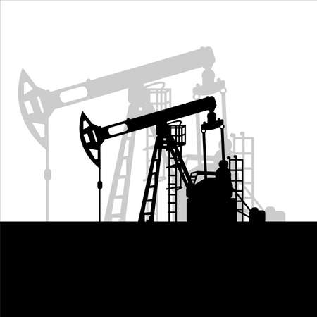 Black oil pumpjack silhouette on white background. Petroleum industry. Vector template for web, infographics or interface design. Oil and gas market. Energy business and environmental problems