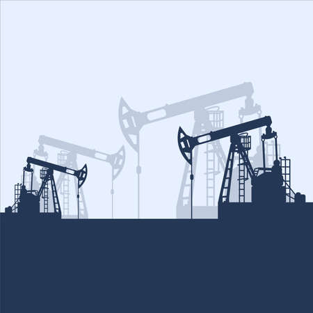 Blue oil pumpjack silhouette on white background. Petroleum industry. Vector template for web, infographics or interface design. Oil and gas market. Energy business and environmental problems Stock fotó - 155370369