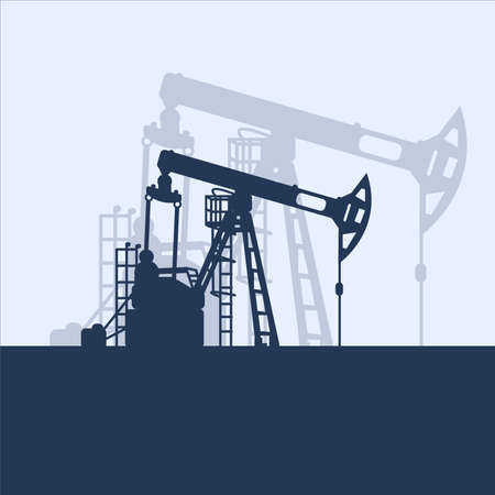 Blue oil pumpjack silhouette on white background. Petroleum industry. Vector template for web, infographics or interface design. Oil and gas market. Energy business and environmental problems Stock fotó - 155370770