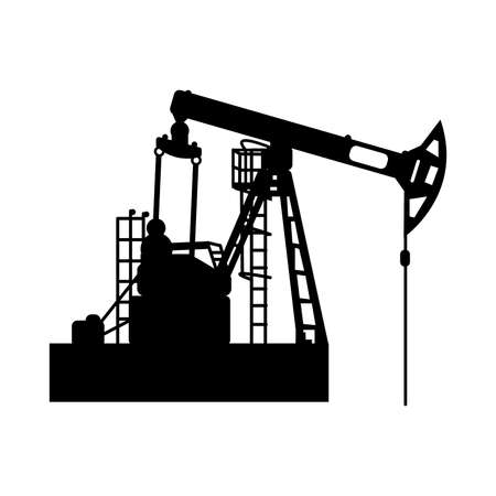 Black oil pumpjack silhouette on white background. Vector isolated symbol of petroleum industry. Icon for web or interface design. Oil and gas market. Energy business and environmental problems