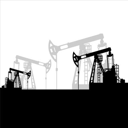 Black oil pumpjack silhouette on white background. Petroleum industry. Vector template for web, infographics or interface design. Oil and gas market. Energy business and environmental problems Stock fotó - 155370375