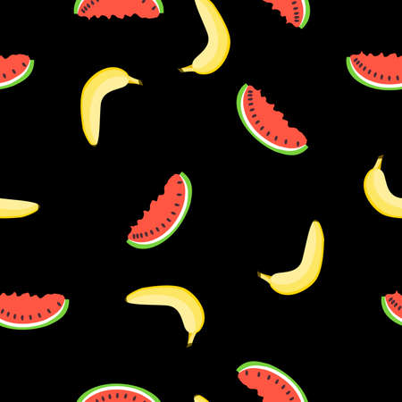 Seamless pattern with yellow banana, red watermelon. Black background. Flat cartoon style. Summer fruits. Healthy food. Vegan lifestyle. Health care. For postcards, wallpaper, textile, wrapping paper