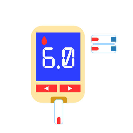 Blood glucose meter. Medicine and health care. Pharmacy shop. Hospital equpment. Medication and pharmaceutical concept. Flat style. Classic blue, red and yellow. Blood sugar control. Diabetes Ilustração