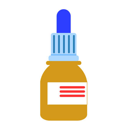 Beige and blue medicine bottle isolated. White label. Flat style. Nasal drops. Pharmacy and health care. Medication, pharmaceutical concept. Antibiotic therapy. Pneumonia and coronavirus treatment